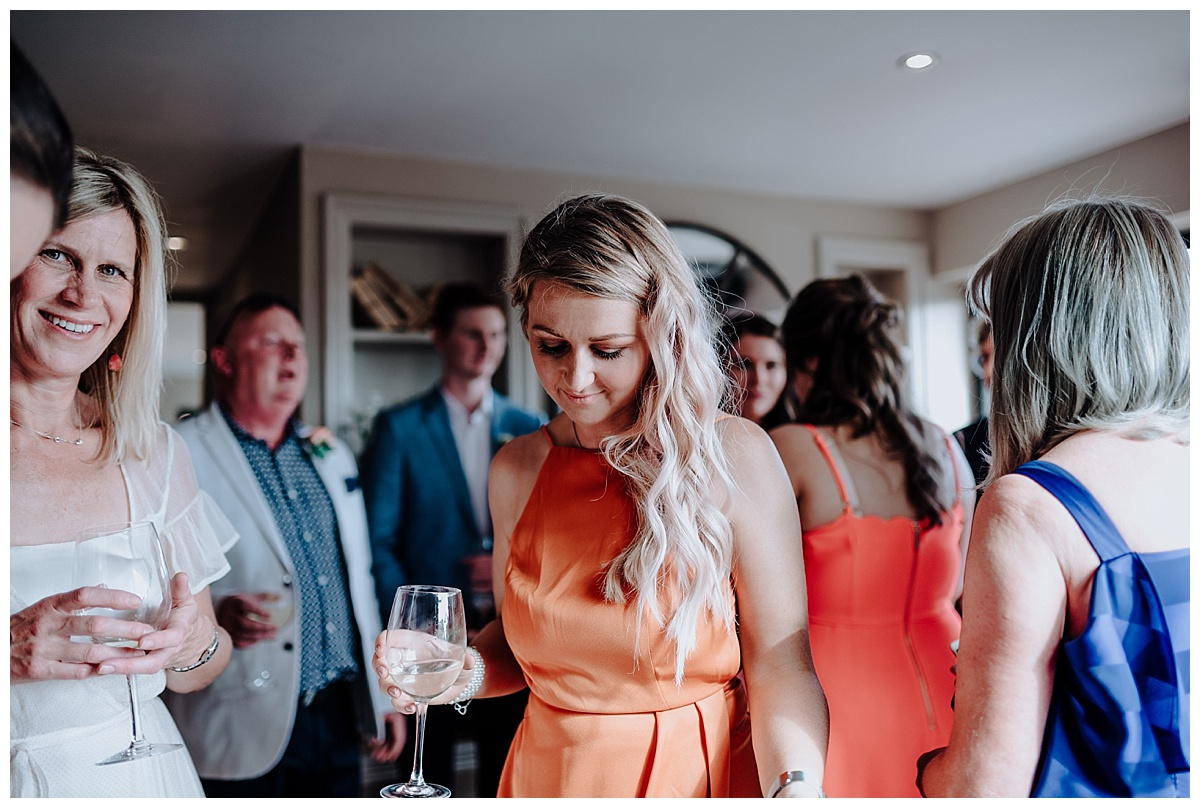 Carl's daughter in orange dress at wedding of Carl & Allison at Great John Street Hotel