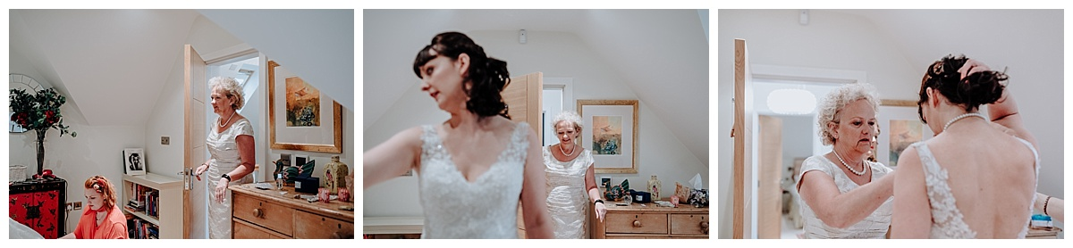 Holly's mum seeing her in the dress for the first time on the morning of the wedding