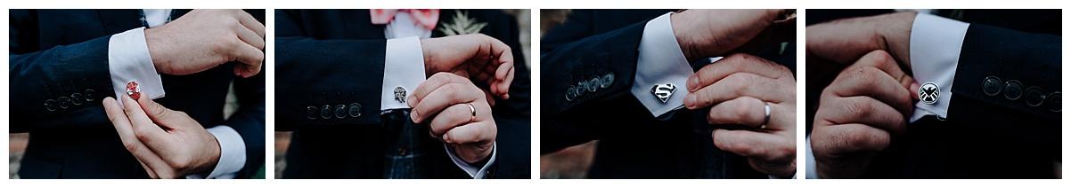 Some of the groomsmen superhero cufflinks