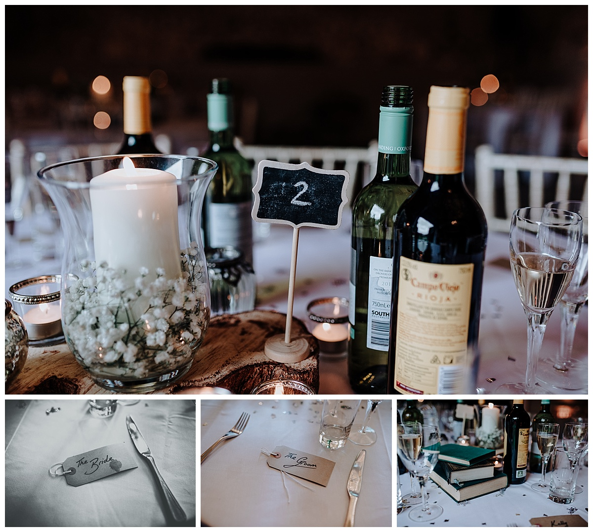 Beautiful table decorations at Monks Barn in Berkshire for Holly and Gregs wedding