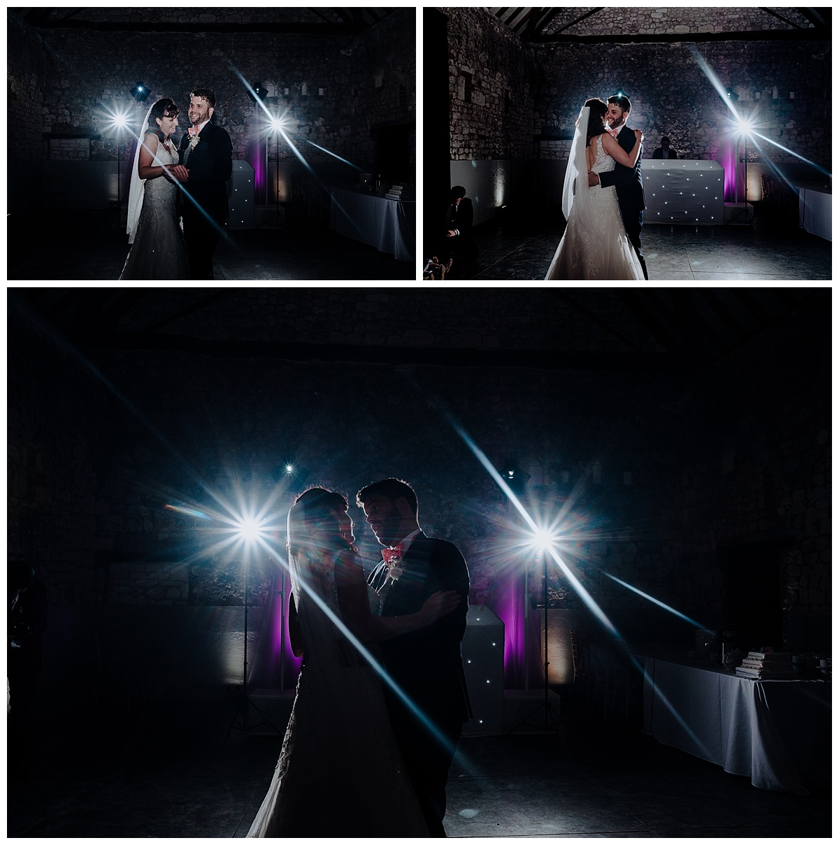 Holly & Greg sharing their first dance at Monks Barn