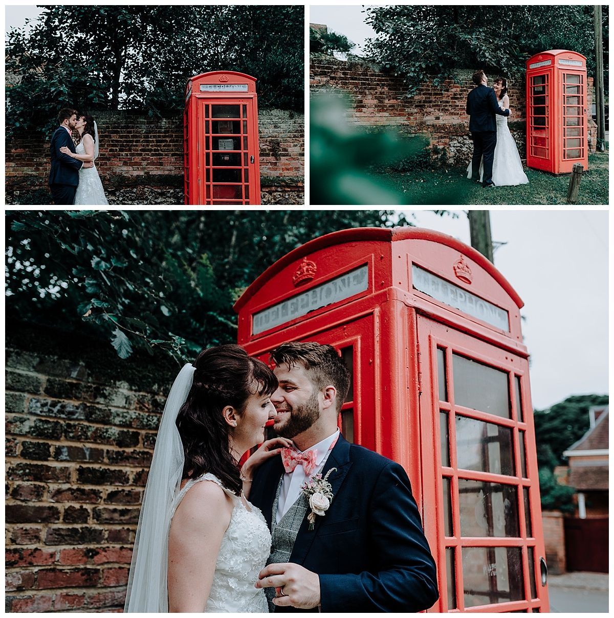 Holly and Greg outside red phonebox on their wedding day in Berkshire