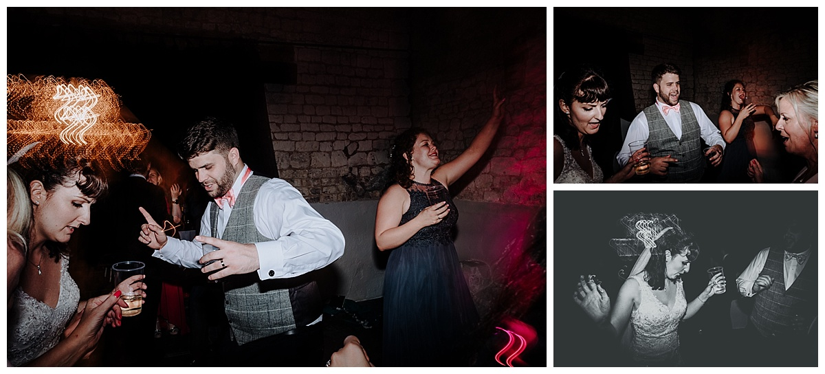 Holly and Greg dancing at their wedding at Monks Barn in Berkshire