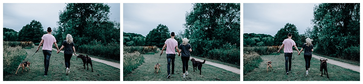 Vicky & Matthew walking the dogs on their pre-wedding session