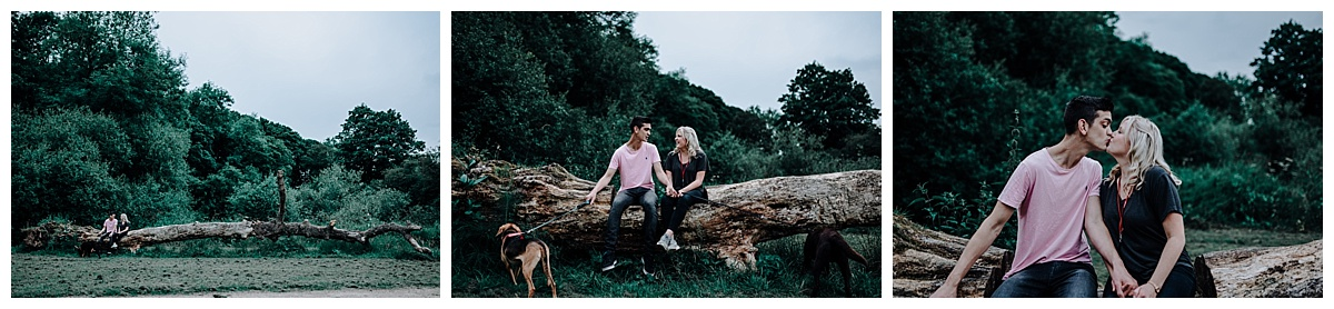 Vicky & Matthew sat on a log kissing on their pre-wedding session