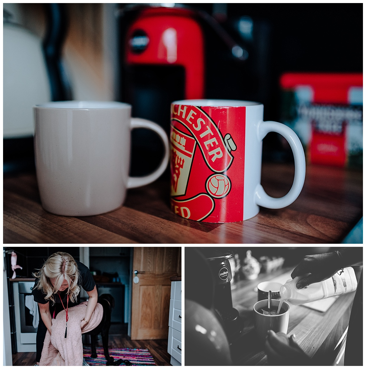 Manchester United mug on Vicky & Matthews pre-wedding session