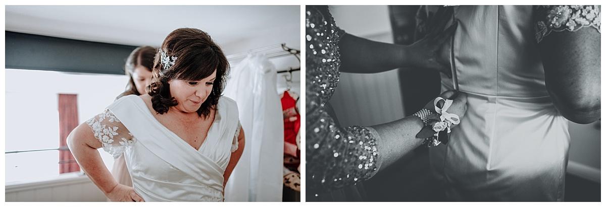 Allison getting into her wedding dress at Great John Street Hotel