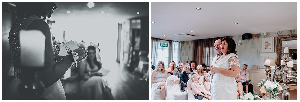 Allisons daughter doing a reading at their wedding at Great John Street Hotel