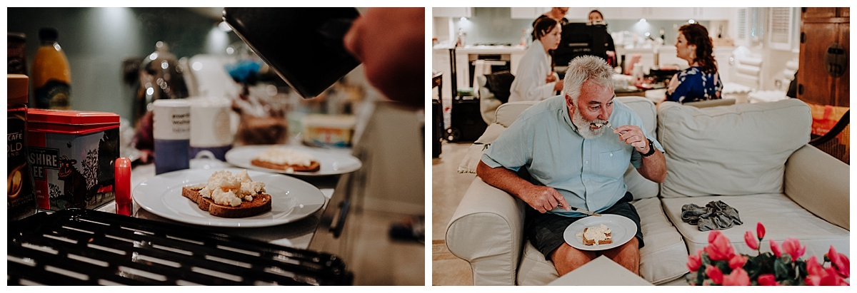 Holly's father having breakfast on the morning of his daughters Berkshire wedding