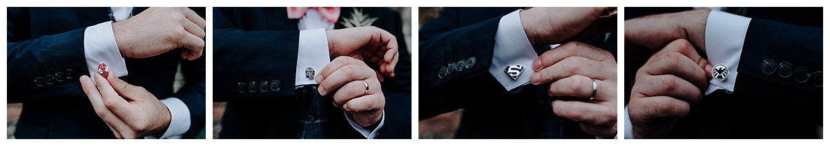 Some of the groomsmen superhero cufflinks