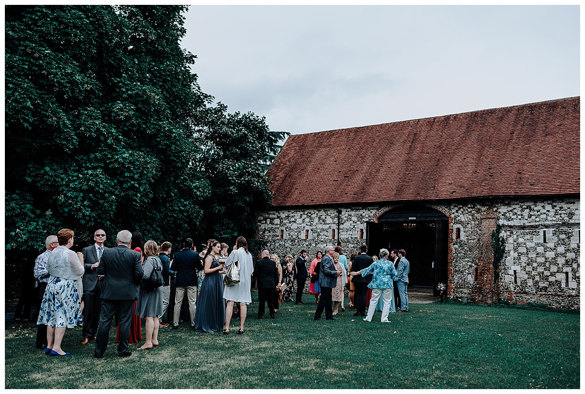 Guests outside Monks Barn in Berkshire