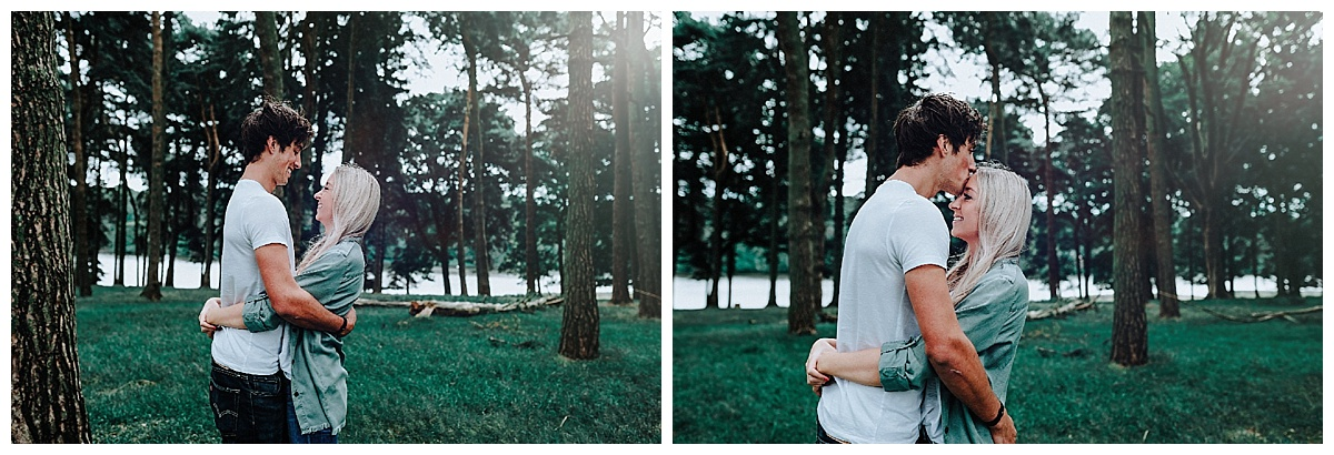 Lauren & Christopher hugging and laughing at their pre-wedding session at Tatton Park, Cheshire