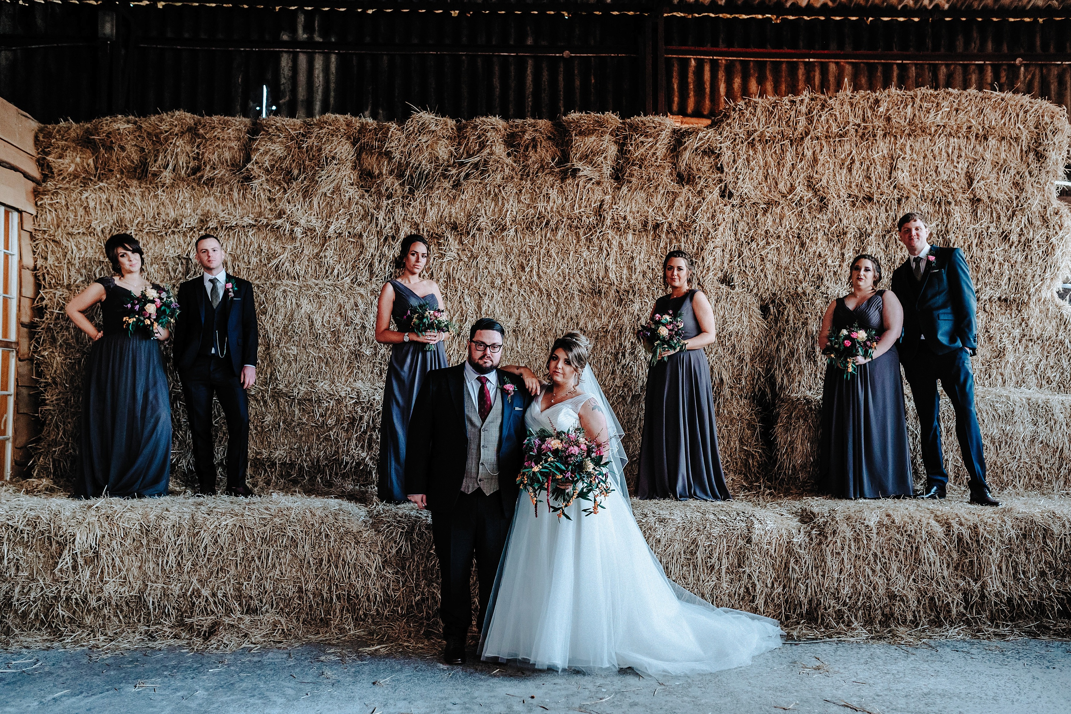 Bridal Party in a barn at a Cheshire Barn Wedding