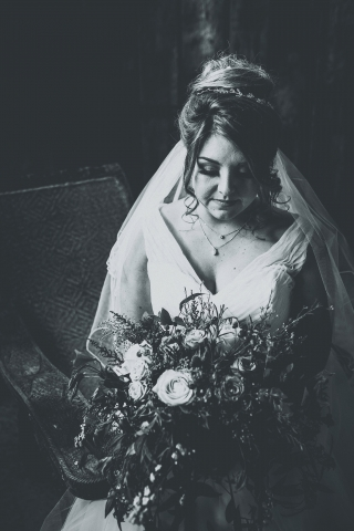 Bride at her Cheshire Barn Wedding