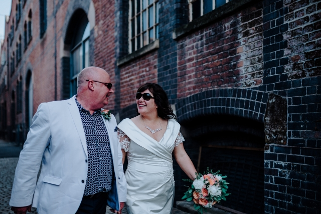 Cool bride and groom at their Manchester City Centre Wedding