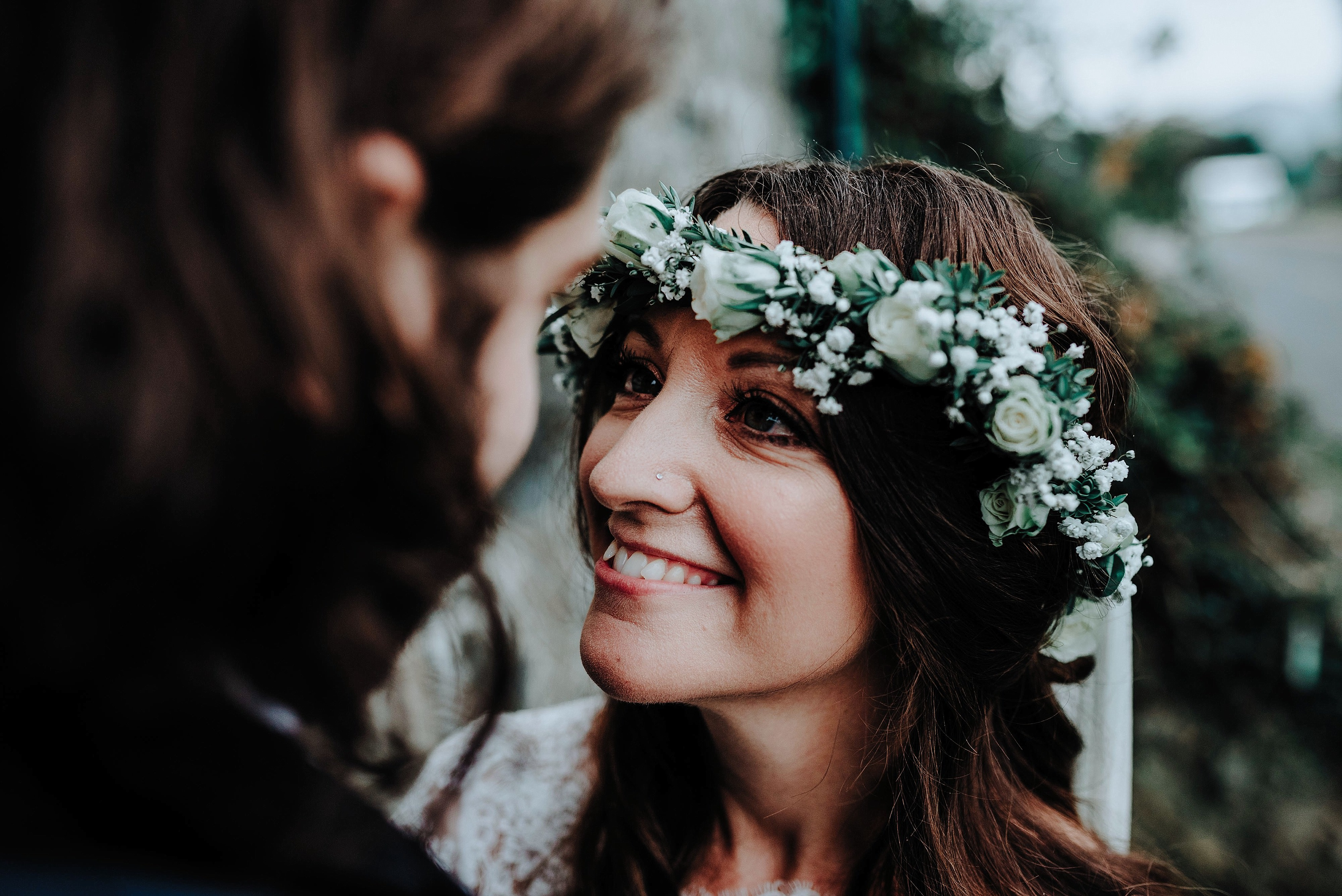 Smiling bride at her rustic welsh wedding