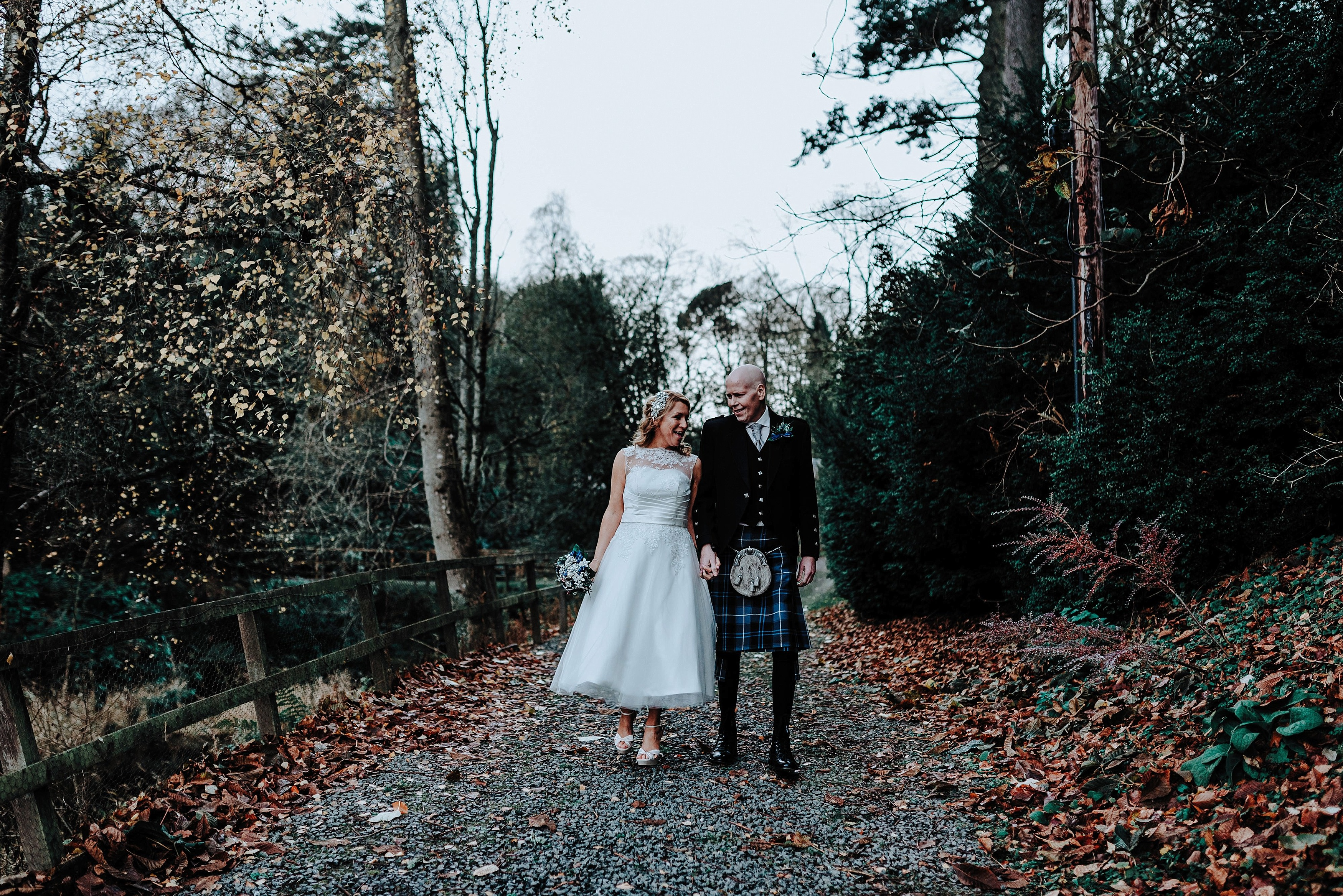 Bride and Groom at their Scottish Wedding