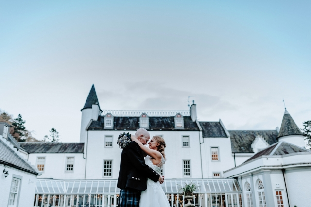 Bride and Groom at a Scottish Hotel Wedding