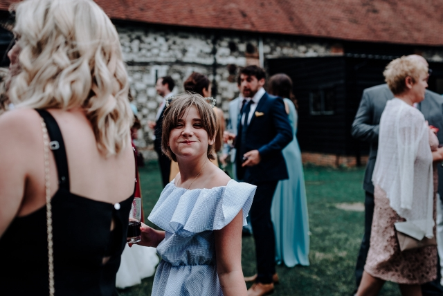 Cheeky guest at a Barn Wedding