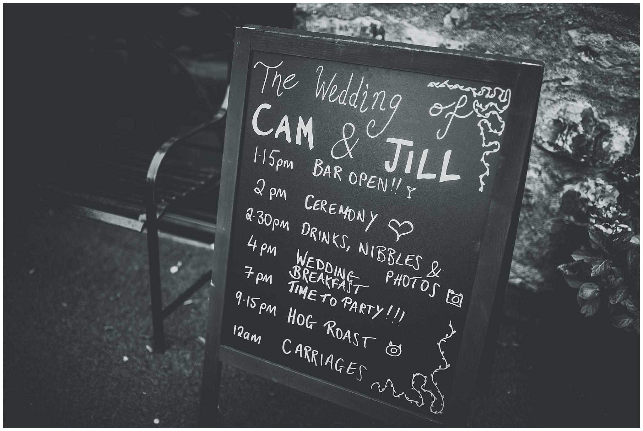 Wedding sign outside Bodnant Welsh Food Centre