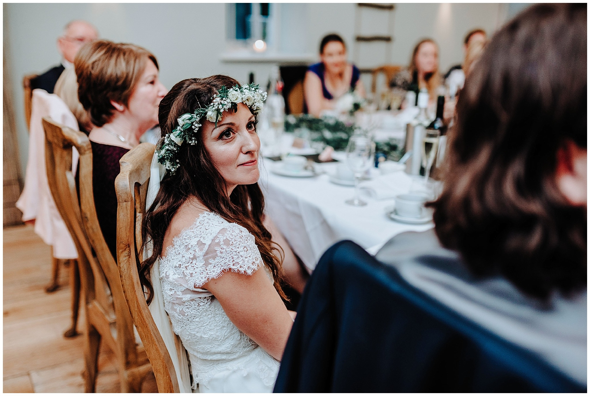 Bride listening to her fathers speech