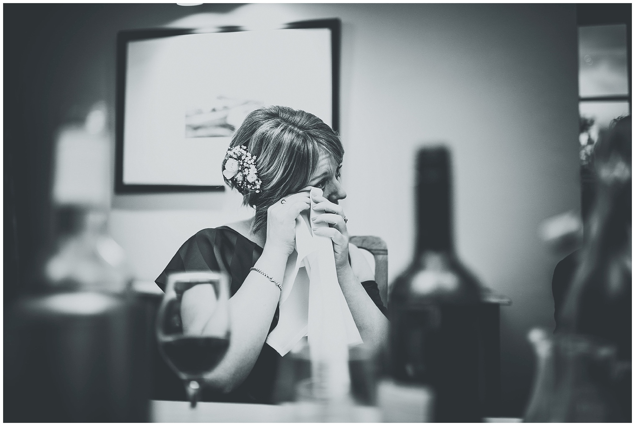Bridesmaid getting emotional during speeches at Bodnant Welsh Food Centre