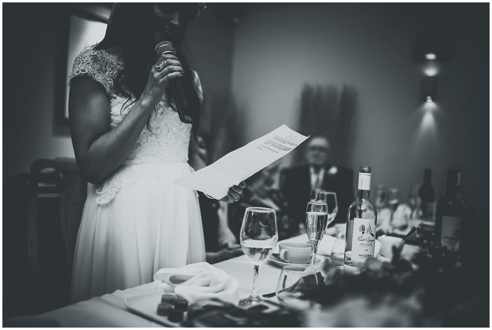Brides speech in her hand