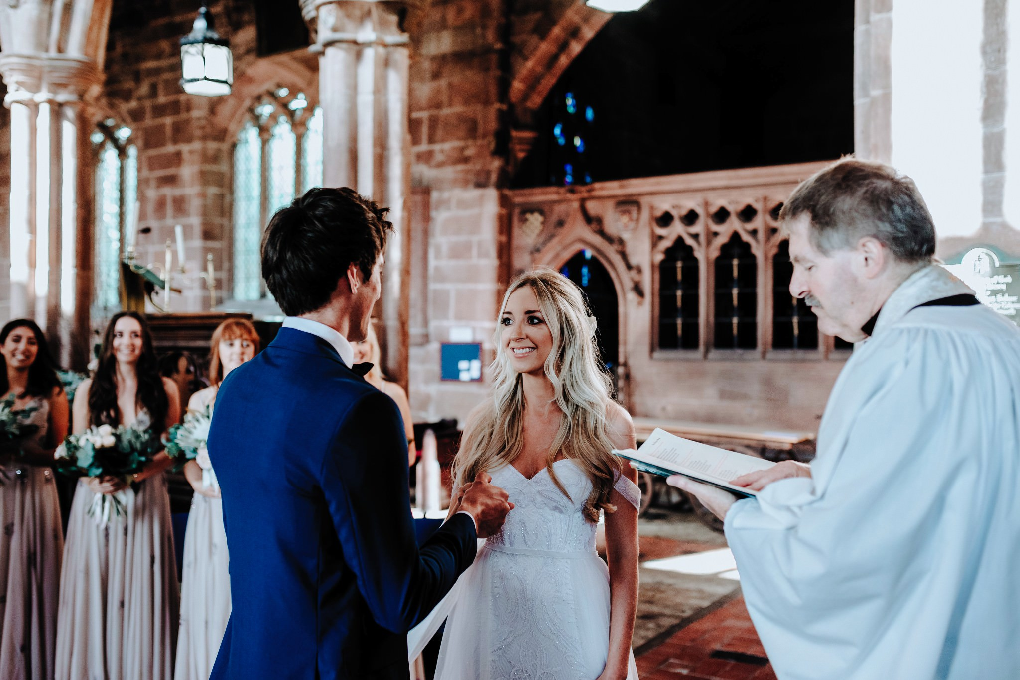 Bride and Groom during Great Budworth church ceremony