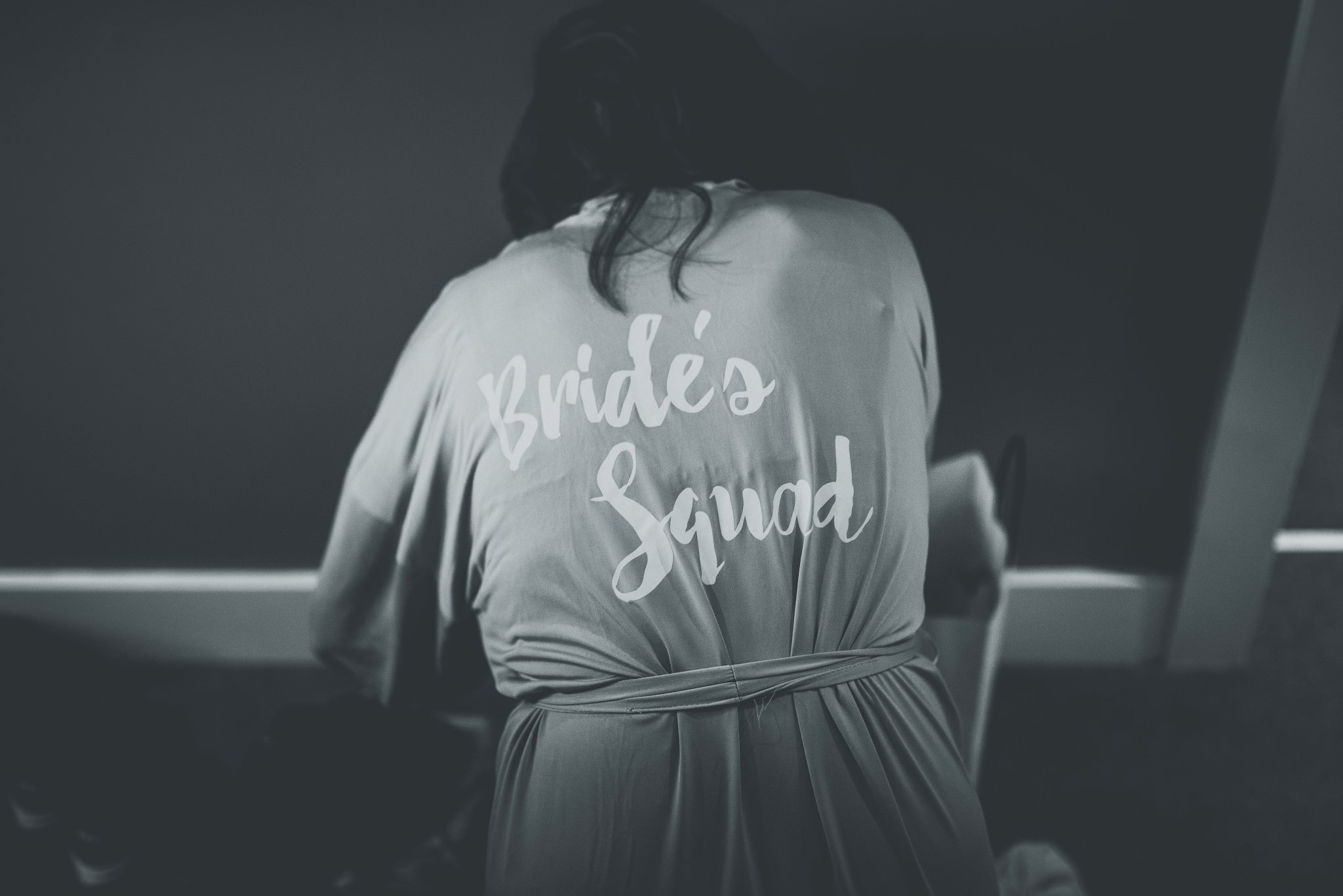 Brides squad dressing gown at Cheshire Barn Wedding