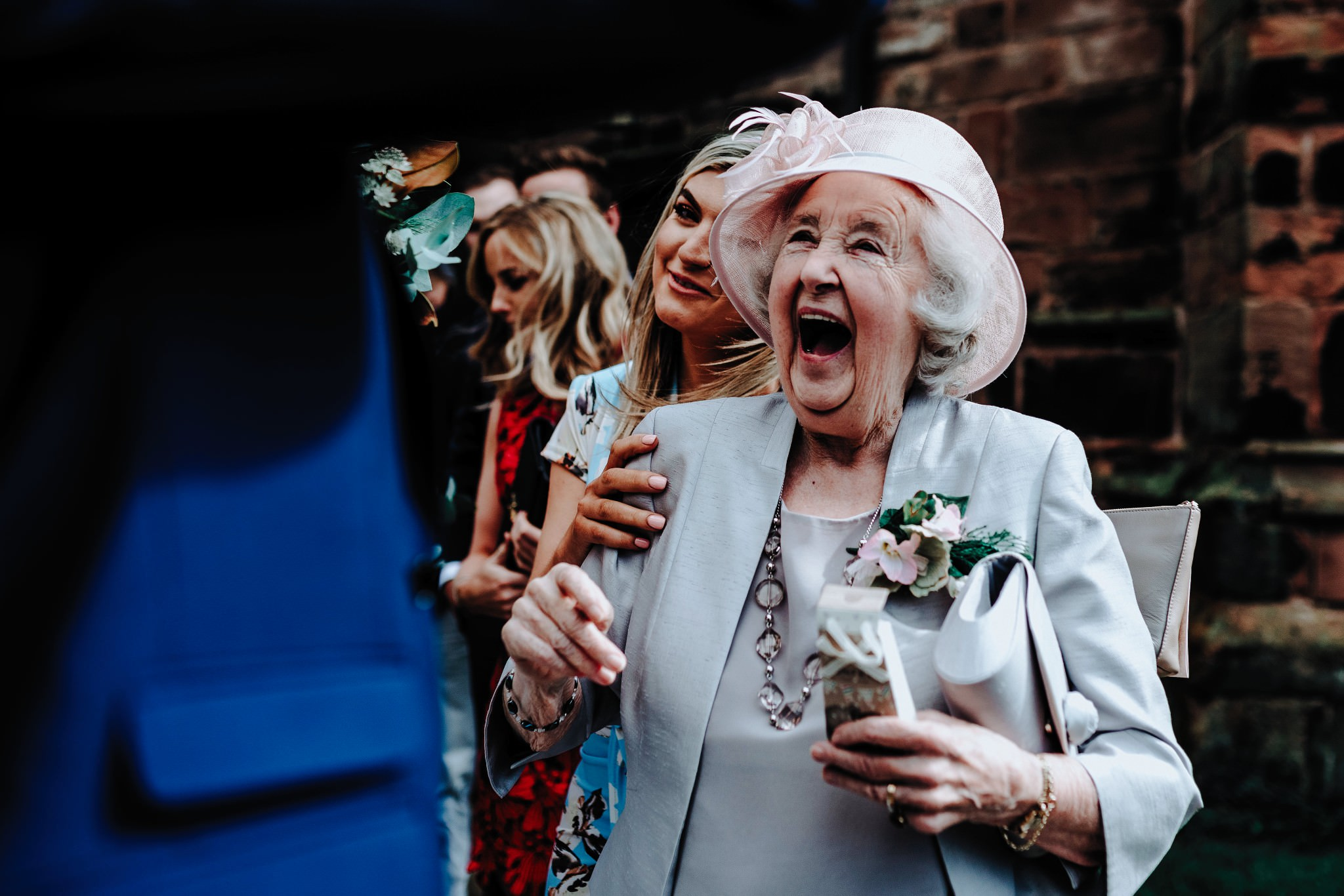 Nan smiling and excited at Cheshire Barn Wedding