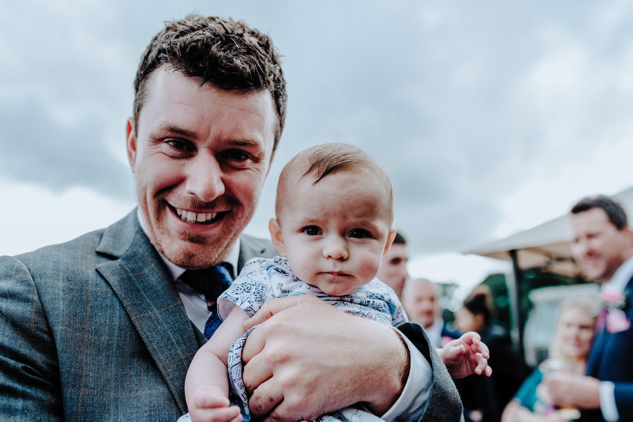 Guest and Baby at Cheshire Barn Wedding