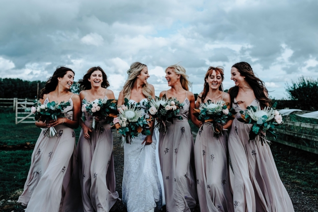 Bridesmaids at a Cheshire Barn Wedding