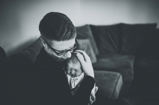 Newborn with Dad at a Cheshire Lifestyle Family Photography Session
