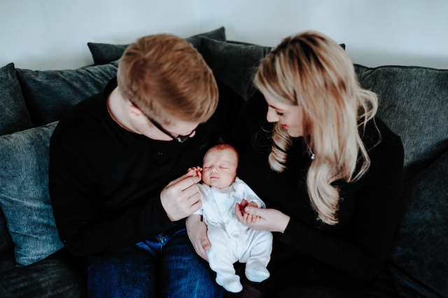 Newborn with Mum and Dad at a Cheshire Lifestyle Family Photography Session