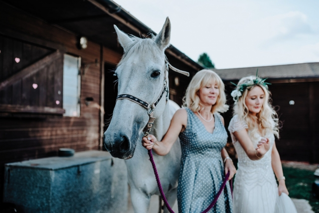 Mother and Bride with their Horse at a Cheshire Tipi Wedding