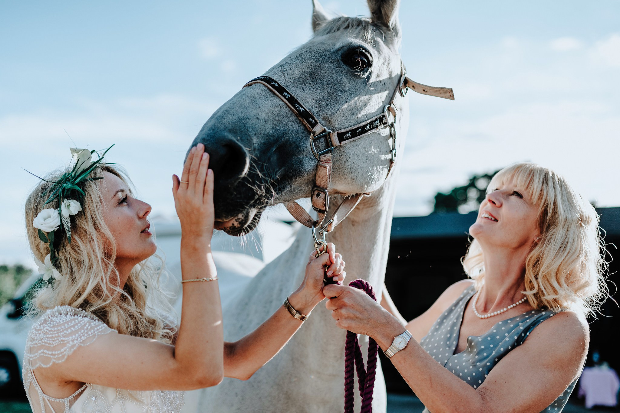 Bride and Mother with their Horse at a Cheshire Tipi Wedding