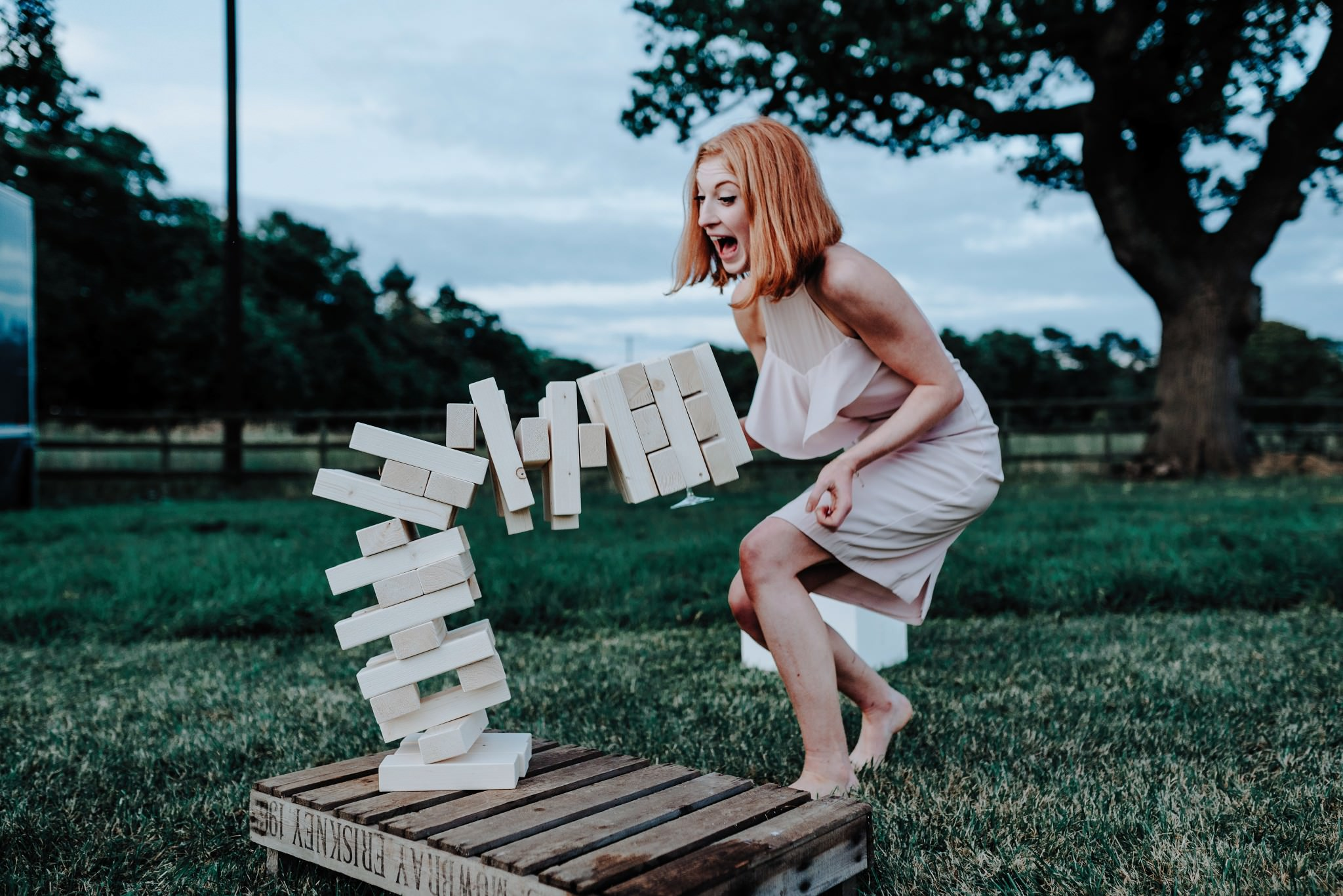 Falling jenga at a Cheshire Barn Wedding