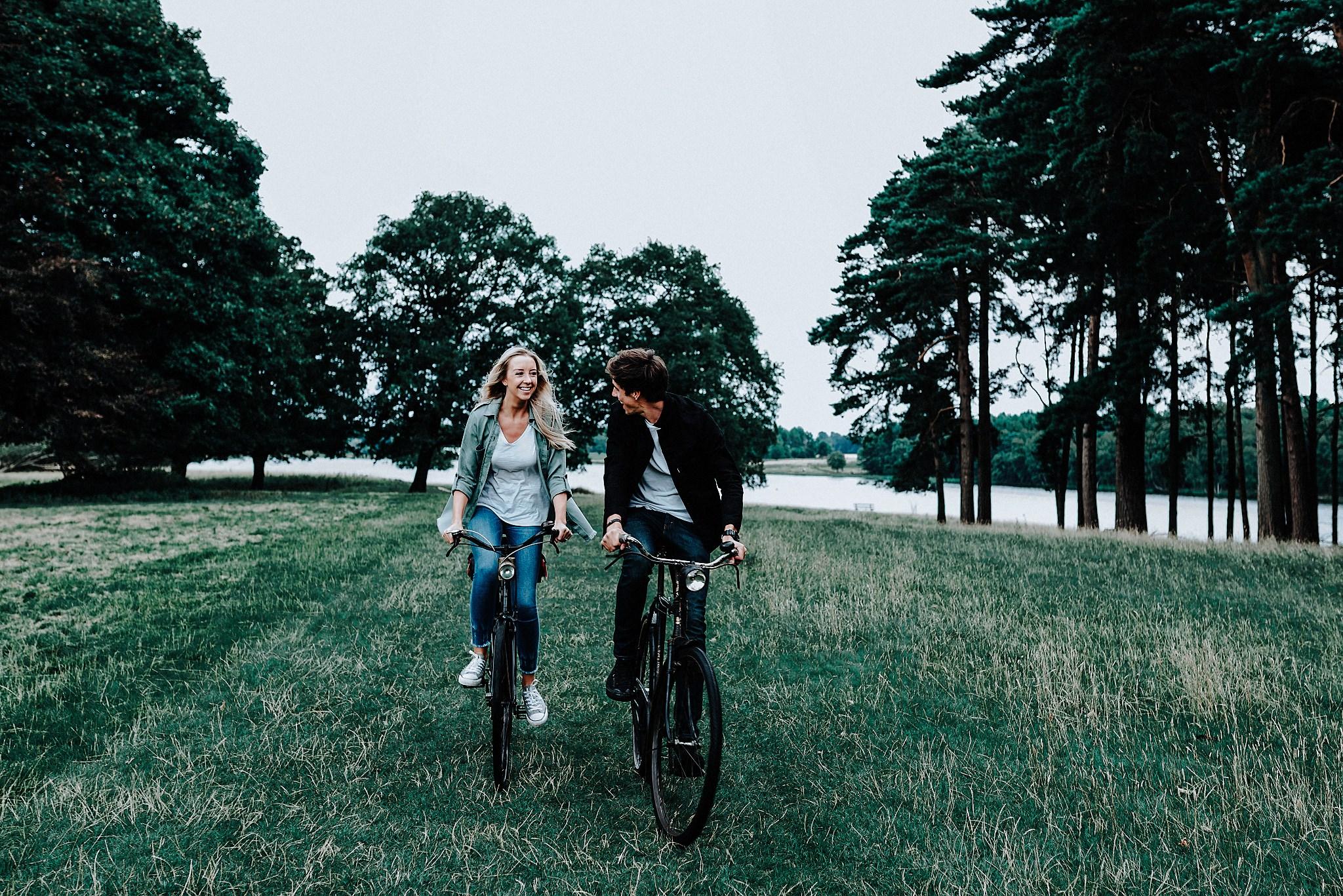 Lauren & Christopher riding vintage bikes in Tatton Park, Cheshire