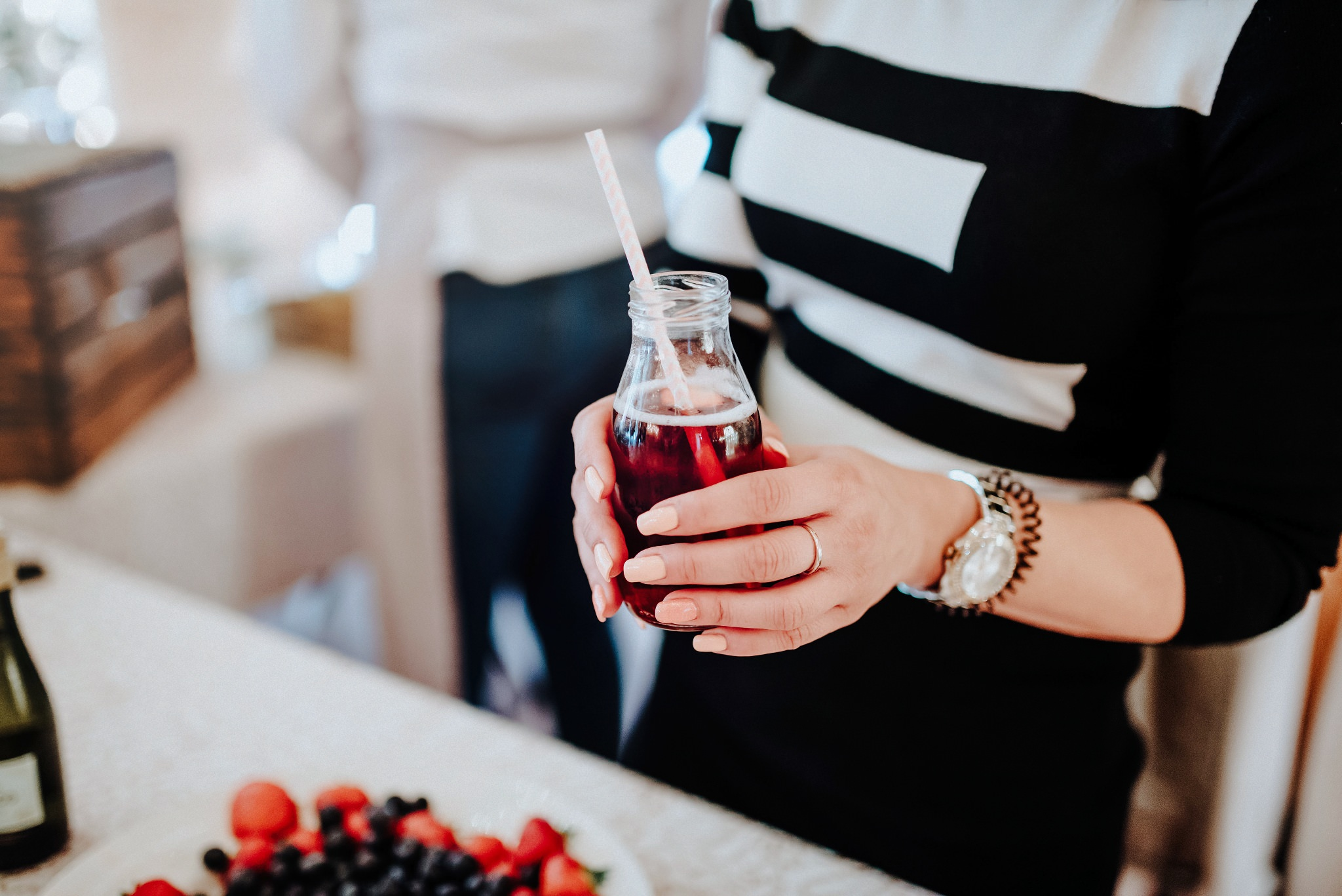 Cocktails being handed out at Styal Lodge Wedding Venue
