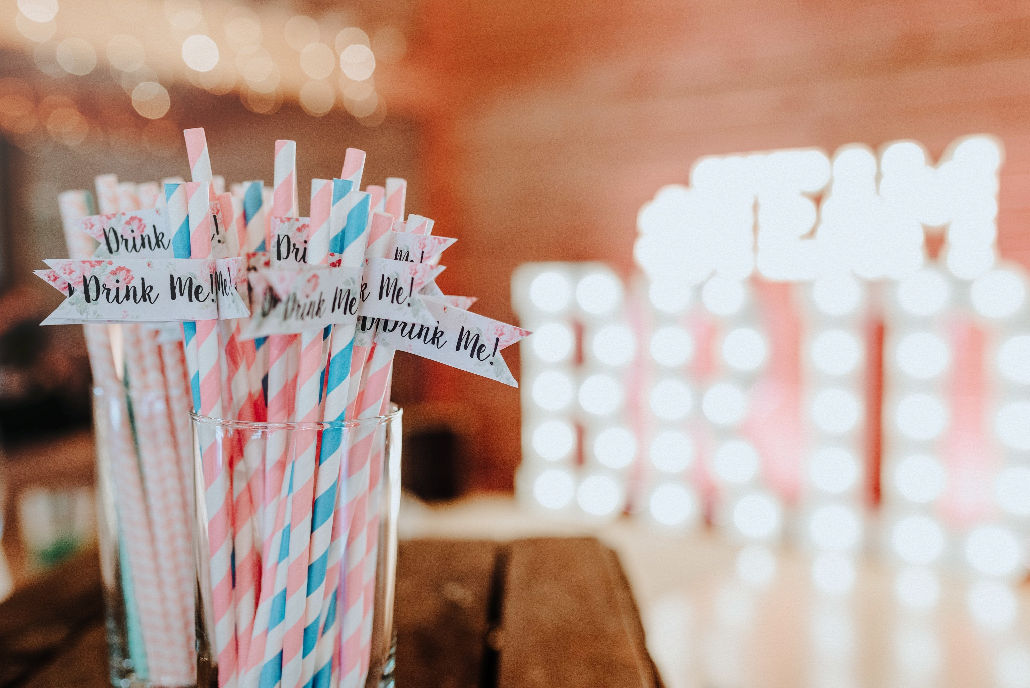 Drink Me straws at Styal Lodge Bridesmaid Brunch